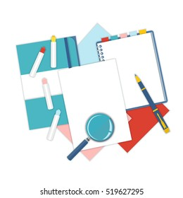 Flat design notepad, paper folder, pen and color sheets of paper isolated on white background with place for text. School vector background