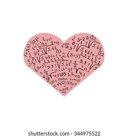 Flat design with numbers and pink heart. I love math.Isolated on white background