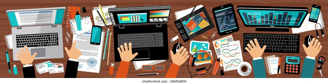 Flat design office of advertising agency. Workplace PR manager, designer and manager. vector