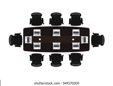 Flat design office business in top view vector illustration