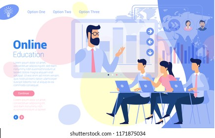 Flat design online  education communicating ready to animation characters to compouse your scenes and animation. Vector web page template.