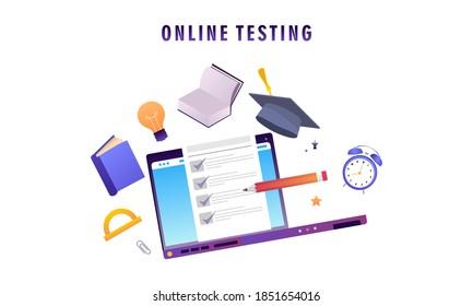 Flat design online testing illustration concept