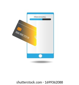 Flat design for online transaction using debit or credit card by mobile phone.
