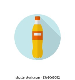 Flat design Orange Soda Drink in Plastic Bottle