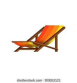 Flat design orange yellow stripes summer wooden beach chair with shading gradient