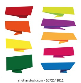 flat design Origami Ribbon vector template design elements banner set