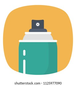 Flat design of paint spray can