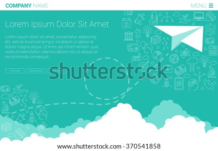 flat design paper airplane minimalist business stock vector royalty