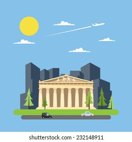 Flat design of parthenon greek illustration vector