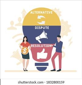 Flat design with people. ADR - Alternative Dispute Resolution acronym. business concept background. Vector illustration for website banner, marketing materials, business presentation, online advertis