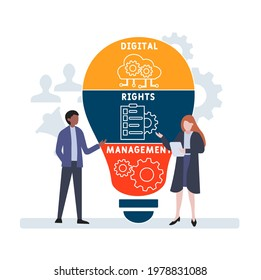 Flat design with people. DRM - Digital Rights Management acronym. business concept background. Vector illustration for website banner, marketing materials, business presentation, online advertising