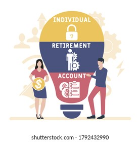 Flat design with people. IRA - Individual Retirement Account . business concept background. Vector illustration for website banner, marketing materials, business presentation, online advertising.
