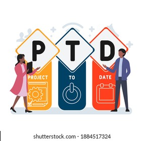 Flat design with people. PTD - project to date. Platform. business concept background. Vector illustration for website banner, marketing materials, business presentation, online advertising
