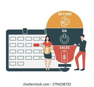 Flat design with people. ROS  - return on sales. Platform. business concept background. Vector illustration for website banner, marketing materials, business presentation, online advertis