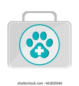 flat design pet first aid kit icon vector illustration