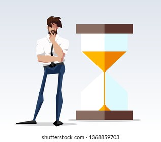 flat design picture illustration with character businessman standing with big hourglass. Flat design banner isolated on white background mission accomplished exactly pic drawing director and sandglass