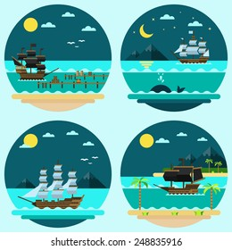 Flat design of pirate ships sailing illustration vector