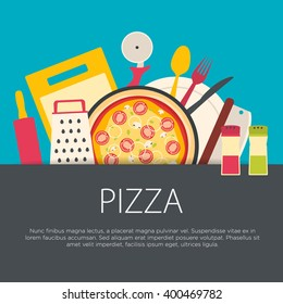 Flat design pizzeria concept. Kitchen equipment background. Vector illustration.