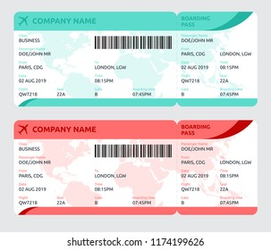Flat design for plane ticket. Boarding pass vector concept. Tickets with world map on background. Airplane passenger ticket vector template.