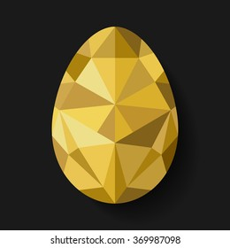 Flat design polygon of golden egg isolated on black background. Vector illustration. Happy Easter card in hipster low poly triangle style. Perfect for greeting card or elegant party invitation.