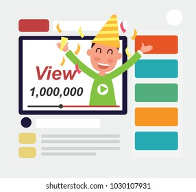 Flat design - Popular online video with one million views
