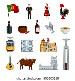 Flat design portugal icons set with national costumes symbols cuisine and attractions isolated on white background vector illustration