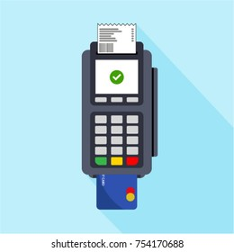 Flat design of POS terminal. Payment by credit or debit card. Vector illustration.
