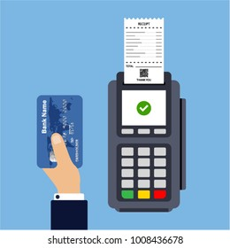Flat design of POS terminal with receipt. Payment by credit or debit card. Hand holds credit card. Vector illustration. Isolated