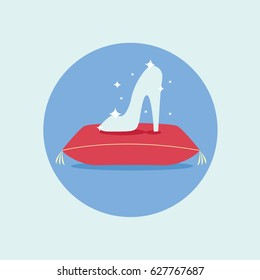 flat design princess girls, fashion & beauty legend. beautiful elegance Crystal glass slipper with diamonds or Ice clear & clean shoe of cinderella on red pillow or cushion with a circle vector stars