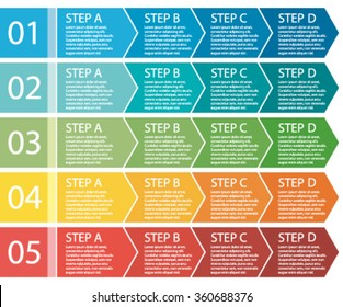 Flat design. Process arrows boxes. Step by step vector set. Four steps. II