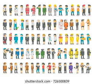 Flat design professions set illustration vector