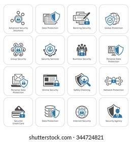 Flat Design Protection and Security Icon Set. Protection. Security. Security Concepts.  App sign. UI symbol. Flat design. Isolated Illustration.
