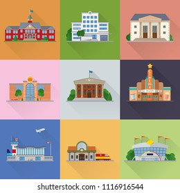 Flat design public buildings and urban facilities flat design long shadow vector illustration