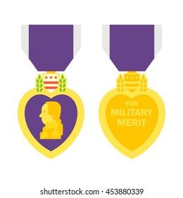 Flat design purple heart medal illustration vector