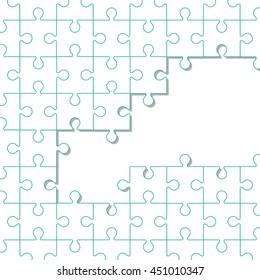 flat design puzzle pieces icon vector illustration