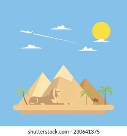 Flat design of pyramids Giza illustration vector