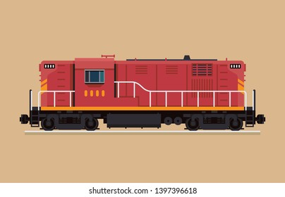 Flat design railway locomotive. Freight train diesel-electric engine. Hood unit switcher engine, isolated