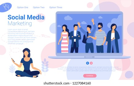 Flat design  ready to animation characters  ready to animation    social media marketing web page template. Office work and business, creative  illustration.