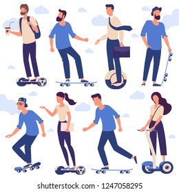 Flat design  ready to animation characters  of men and women with hoverboards and  skateboards. Flat design character pose set.
