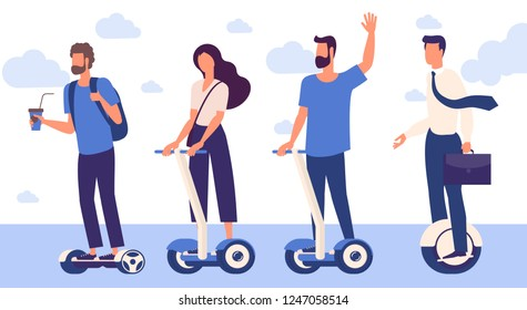 Flat design  ready to animation  characters of men and women with hoverboards. Flat design character pose set.