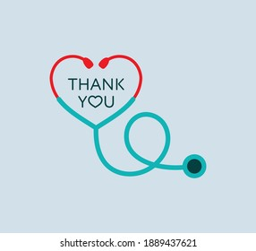 Flat design red heart shape Stethoscope medical instrument vector icon. Health care love support logo. Thank you doctor, nurse. Outbreak coronavirus symbol. Save life pandemic. Emblem support concept