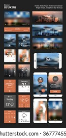 Flat design responsive pixel perfect UI mobile app and website template with trendy blurred polygonal header city skyline backgrounds, player app mockups, calendar and weather app widgets