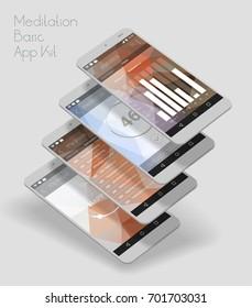 Flat design responsive UI mobile app with 3d mockups