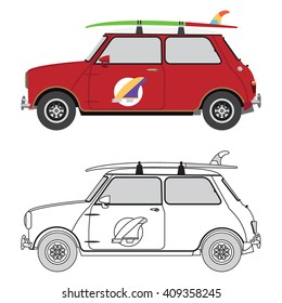 Flat design retro car with surfboard on the roof, color and outline, isolated