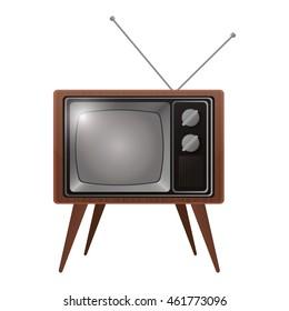flat design retro classic tv with antenna icon vector illustration