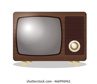 flat design retro tv icon vector illustration