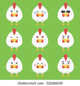 Flat design rooster or chicken cartoon character set, collection with different face emotions, emoji. Symbol of the year 2017.