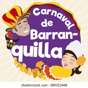 Flat design with round button and smiling Momo King, Colombian flag and decorated bull head and beautiful Queen with flower petals celebrating Barranquilla's Carnival (written in Spanish).