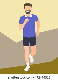 Flat design running man. Boy run, front view. Vector illustration for healthy lifestyle, weight loss, health and good habits articles, banners, posters. Isolated character icon