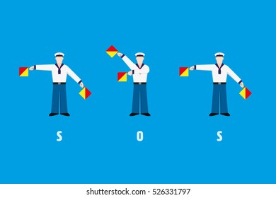 Flat design sailors waving SOS with signal flags from flag semaphore system